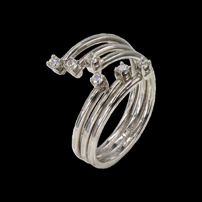 Δαχτυλίδι λευκόχρυσο με ζιργκόν πέτρες 14Κ - D4804