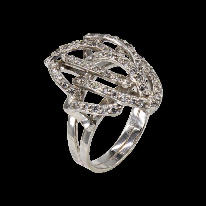 Δαχτυλίδι λευκόχρυσο με ζιργκόν πέτρες 14Κ - D496