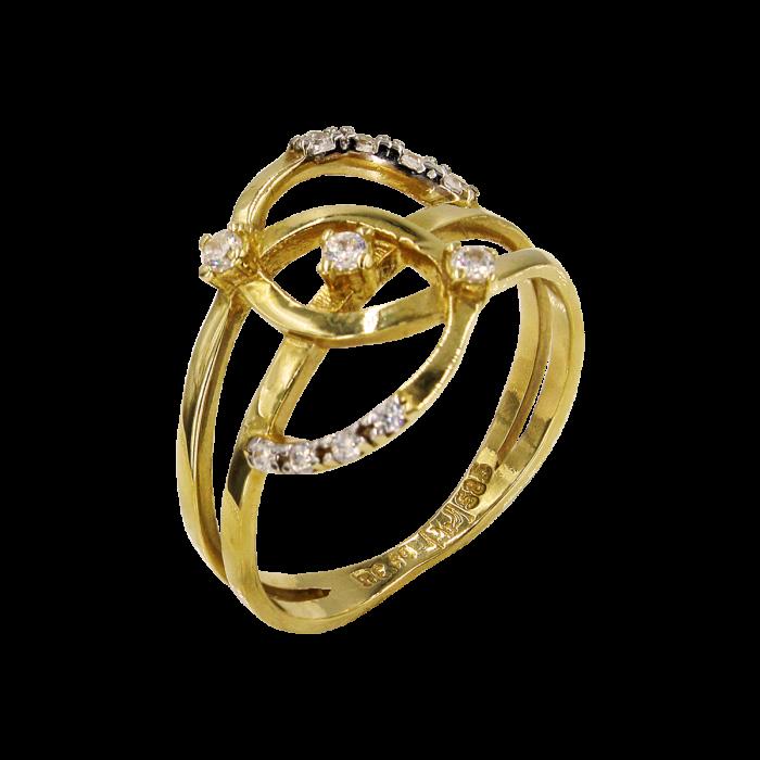 Δαχτυλίδι χρυσό με ζιργκόν πέτρες 14Κ - D51458