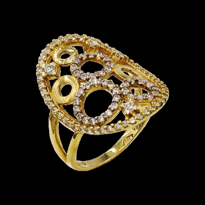 Δαχτυλίδι χρυσό με ζιργκόν πέτρες 14Κ - D51510