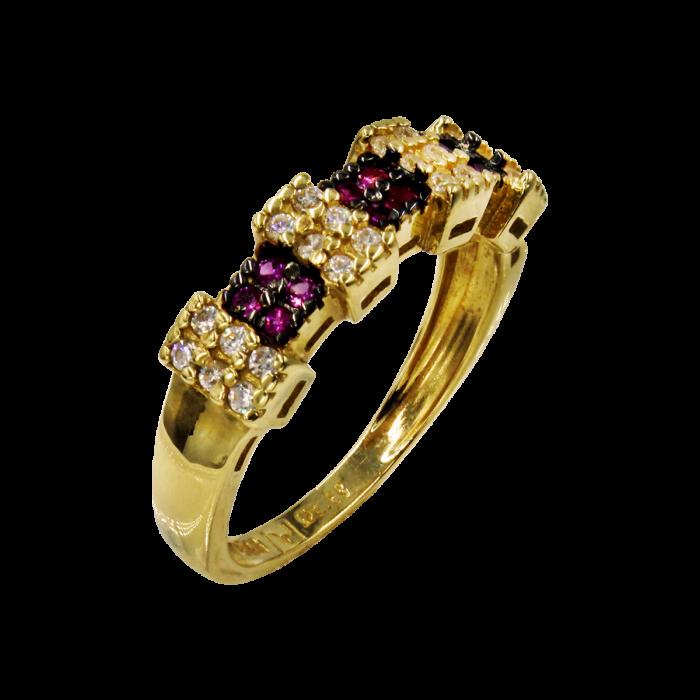 Δαχτυλίδι χρυσό με ζιργκόν πέτρες 14Κ - D51542