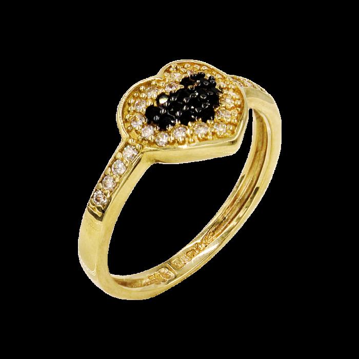 Δαχτυλίδι καρδιά χρυσό με ζιργκόν πέτρες 14Κ - D51600