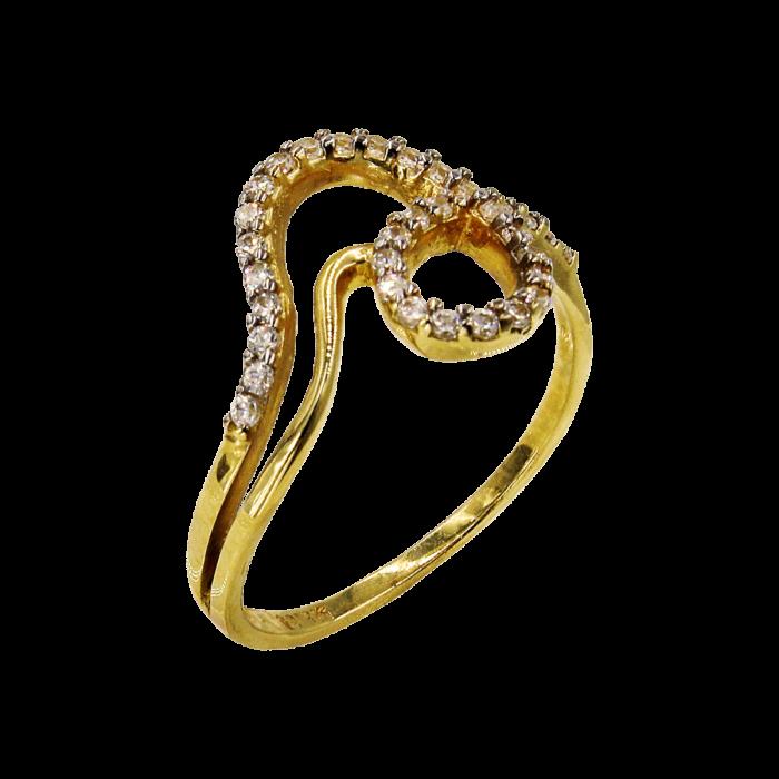 Δαχτυλίδι χρυσό με ζιργκόν πέτρες 14Κ - D51614
