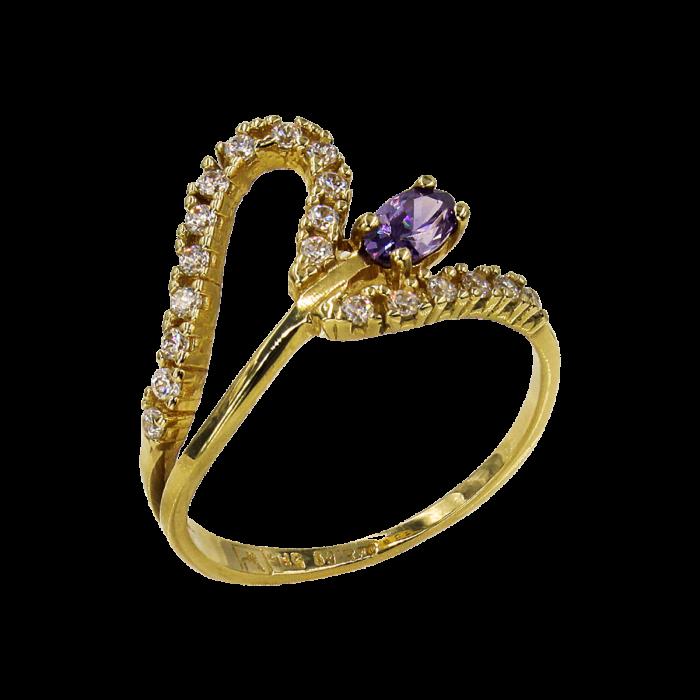 Δαχτυλίδι χρυσό με ζιργκόν πέτρες 14Κ - D51622
