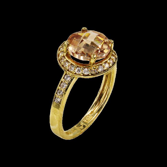 Δαχτυλίδι χρυσό με ζιργκόν πέτρες 14Κ - D51635