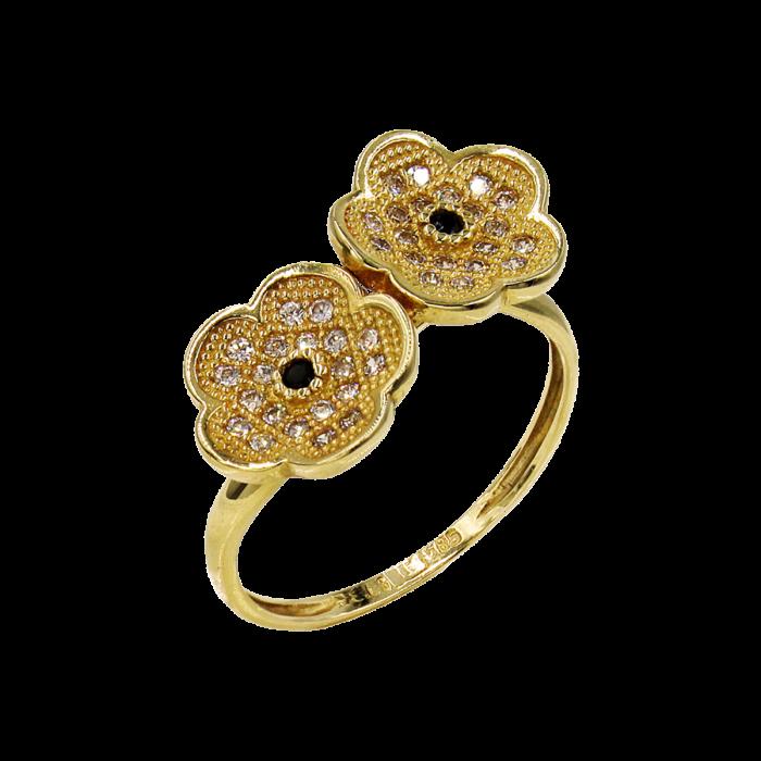 Δαχτυλίδι χρυσό με ζιργκόν πέτρες 14Κ - D51668