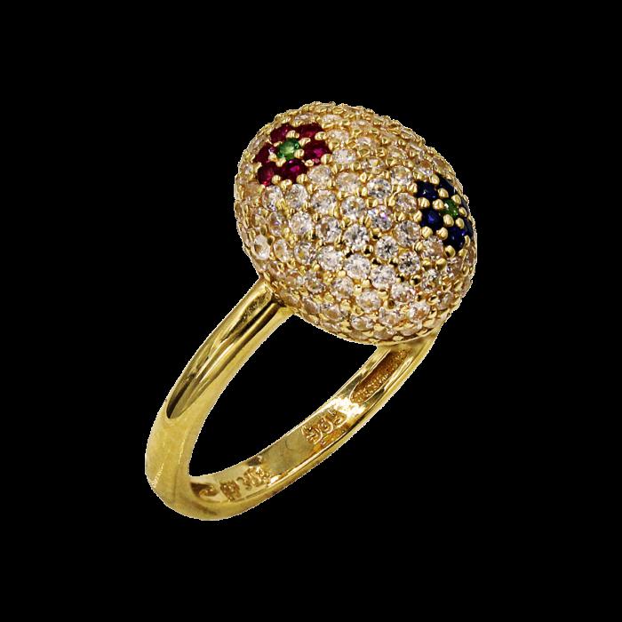 Δαχτυλίδι χρυσό σεβαλιέ με ζιργκόν πέτρες 14Κ - D51836