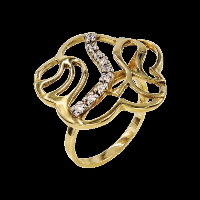 Δαχτυλίδι χρυσό με ζιργκόν πέτρες 14Κ - D976