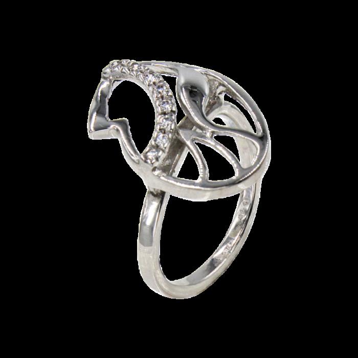 Δαχτυλίδι λευκόχρυσο με ζιργκόν πέτρες 14Κ - D977