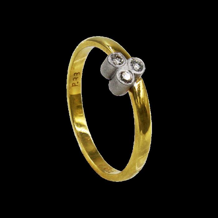 Γυναικείο δαχτυλίδι δίχρωμο 18Κ - MDB1044
