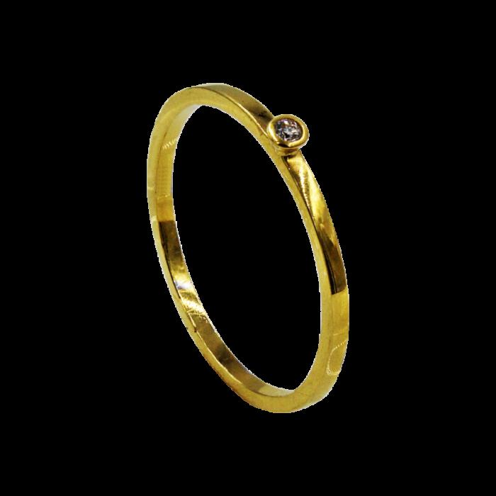 Μονόπετρο δαχτυλίδι χρυσό 18Κ - MDB1045