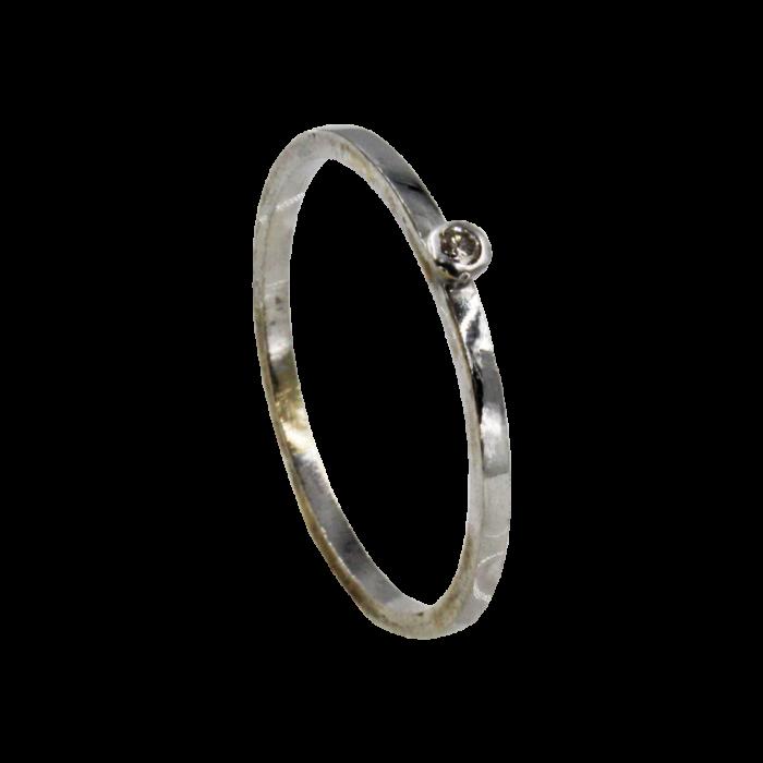 Μονόπετρο δαχτυλίδι λευκόχρυσο 18Κ - MDB1046