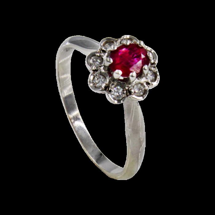 Γυναικείο δαχτυλίδι λευκόχρυσο 18Κ - MDB1718