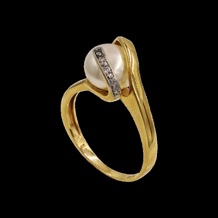 Δαχτυλίδι χρυσό 14Κ με μαργαριτάρι ζιργκόν - MRD008