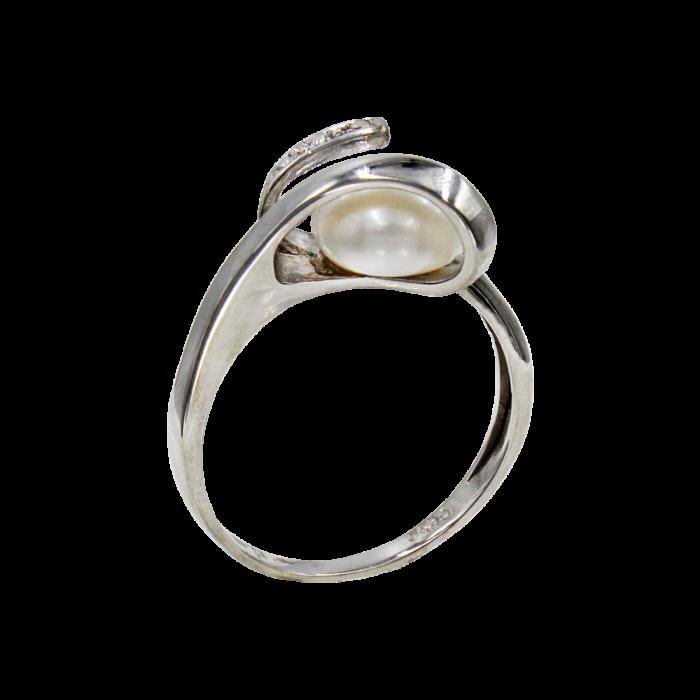 Δαχτυλίδι λευκόχρυσο 14Κ με μαργαριτάρι ζιργκόν - MRD008L