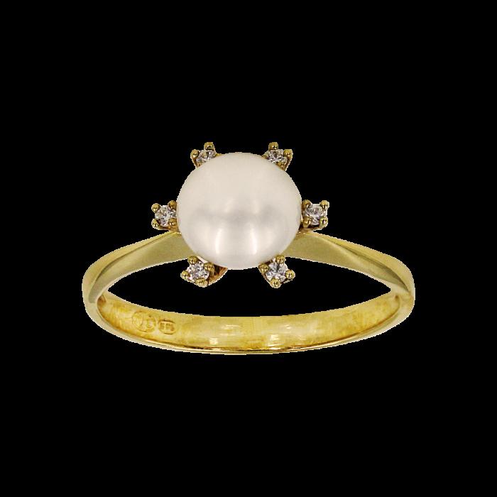 Δαχτυλίδι χρυσό 14Κ με μαργαριτάρι ζιργκόν - MRD1001