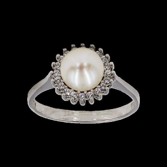 Δαχτυλίδι λευκόχρυσο 14Κ με μαργαριτάρι ζιργκόν - MRD1002