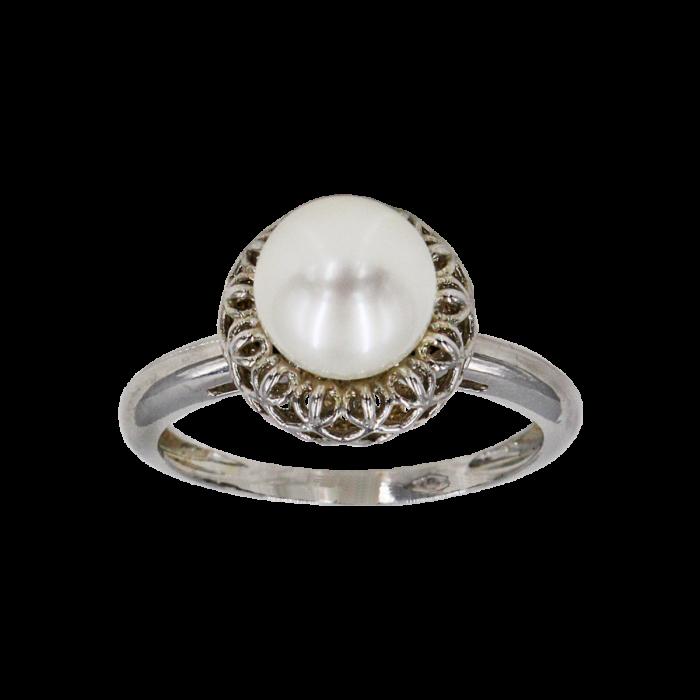 Δαχτυλίδι λευκόχρυσο 14Κ με μαργαριτάρι - MRD1007