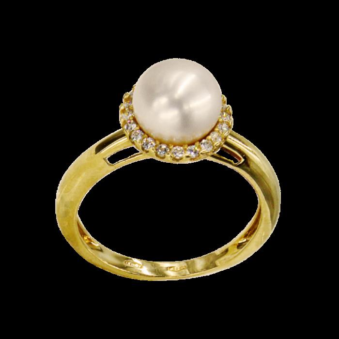 Δαχτυλίδι χρυσό 14Κ με μαργαριτάρι ζιργκόν - MRD1008