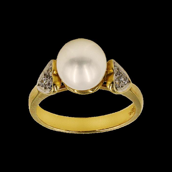 Δαχτυλίδι χρυσό 14Κ με μαργαριτάρι ζιργκόν - MRD1011