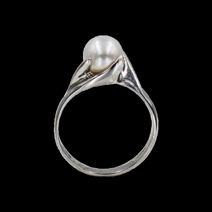 Δαχτυλίδι λευκόχρυσο 14Κ με μαργαριτάρι - MRD1013