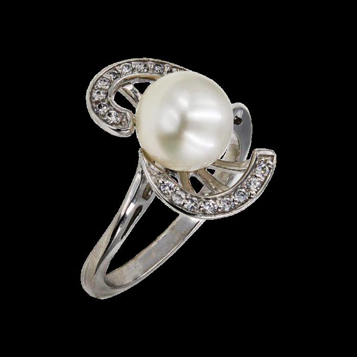 Δαχτυλίδι λευκόχρυσο 14Κ με μαργαριτάρι ζιργκόν - MRD1014