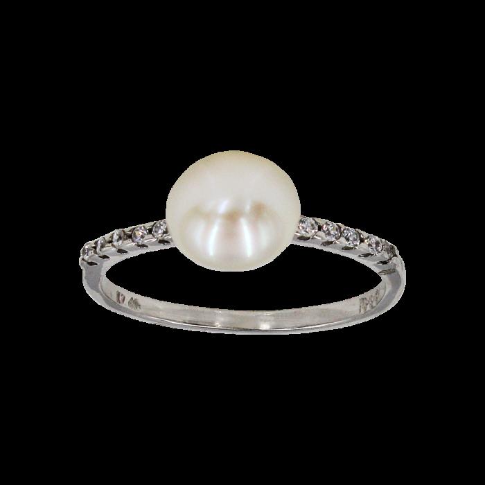 Δαχτυλίδι λευκόχρυσο 14Κ με μαργαριτάρι ζιργκόν - MRD1132
