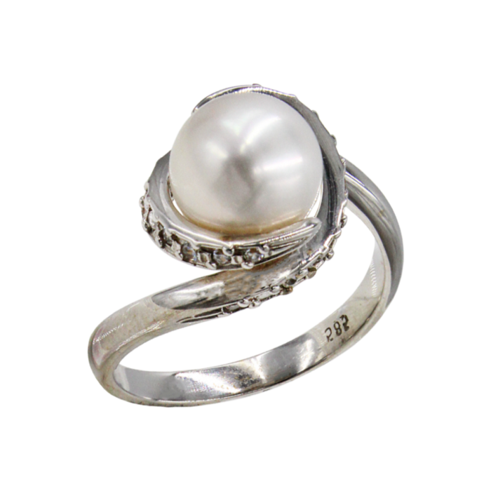 Δαχτυλίδι λευκόχρυσο 14Κ με μαργαριτάρι ζιργκόν - MRD2016