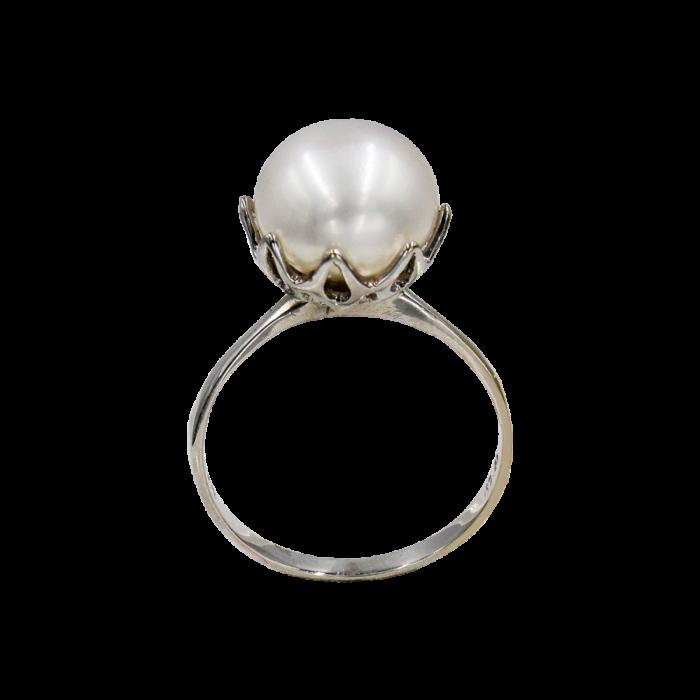 Δαχτυλίδι λευκόχρυσο 14Κ με μαργαριτάρι - MRD2035