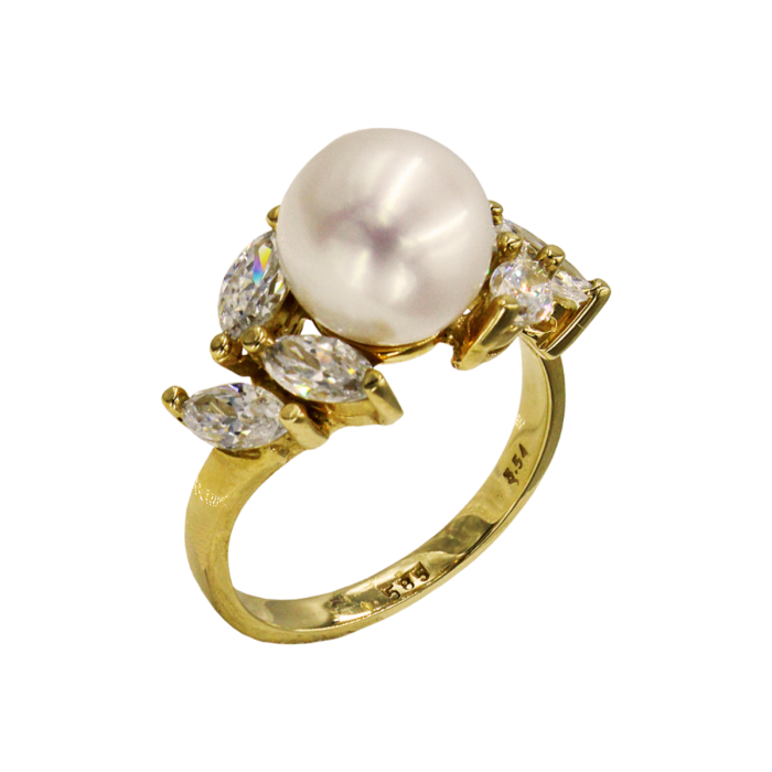 Δαχτυλίδι χρυσό 14Κ με μαργαριτάρι ζιργκόν - MRD2058