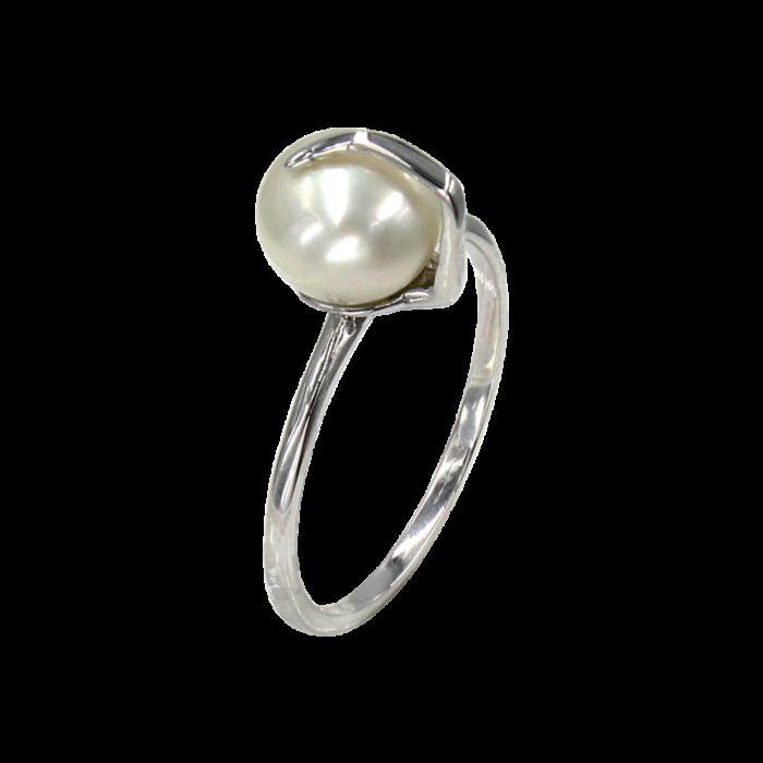 Δαχτυλίδι λευκόχρυσο 14Κ με μαργαριτάρι - MRD2117