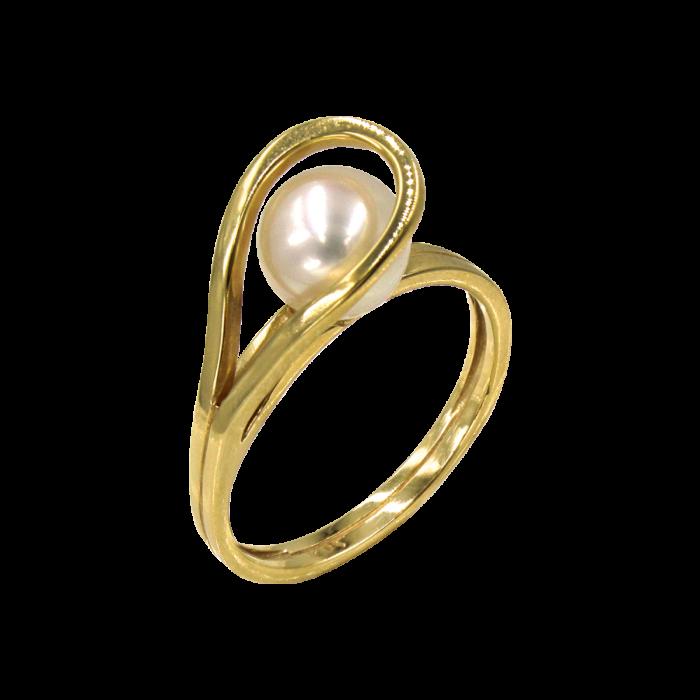Δαχτυλίδι χρυσό 14Κ με μαργαριτάρι - MRD2182