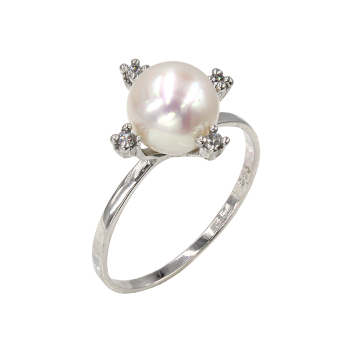 Δαχτυλίδι λευκόχρυσο 14Κ με μαργαριτάρι ζιργκόν - MRD2186