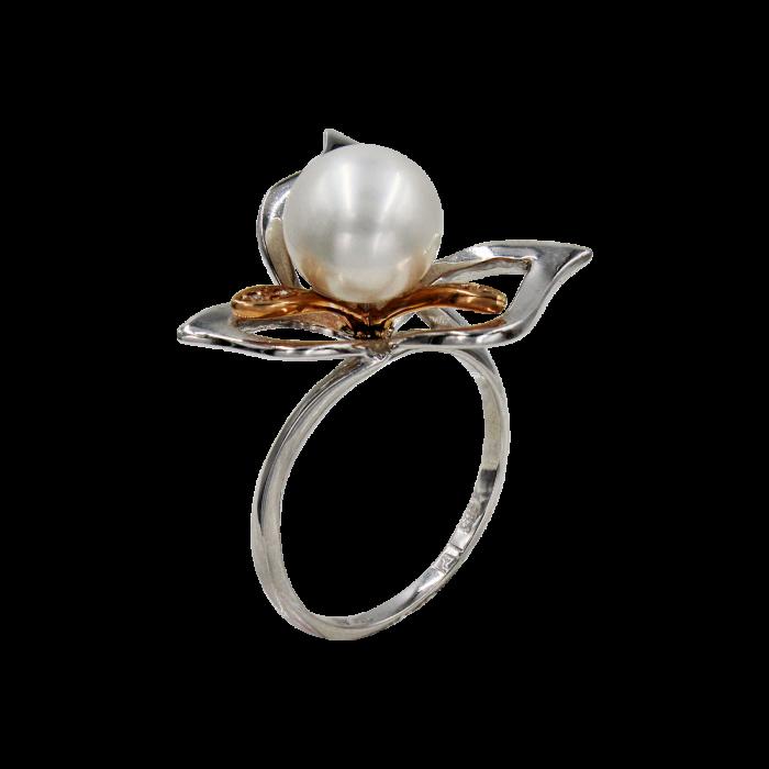 Δαχτυλίδι δίχρωμο 14Κ με μαργαριτάρι ζιργκόν - MRD41311