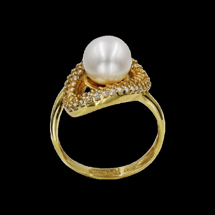 Δαχτυλίδι χρυσό 14Κ με μαργαριτάρι ζιργκόν - MRD51645