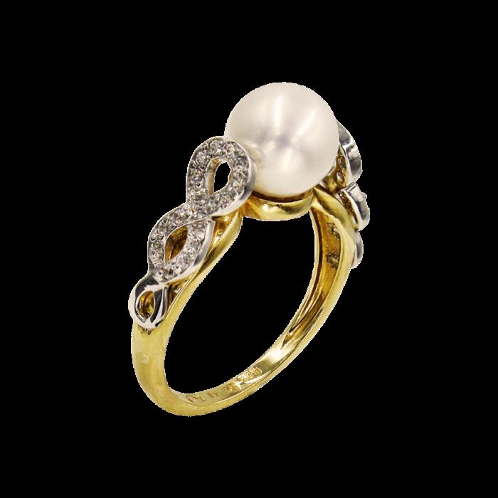 Δαχτυλίδι χρυσό 14Κ με μαργαριτάρι ζιργκόν - MRD5968