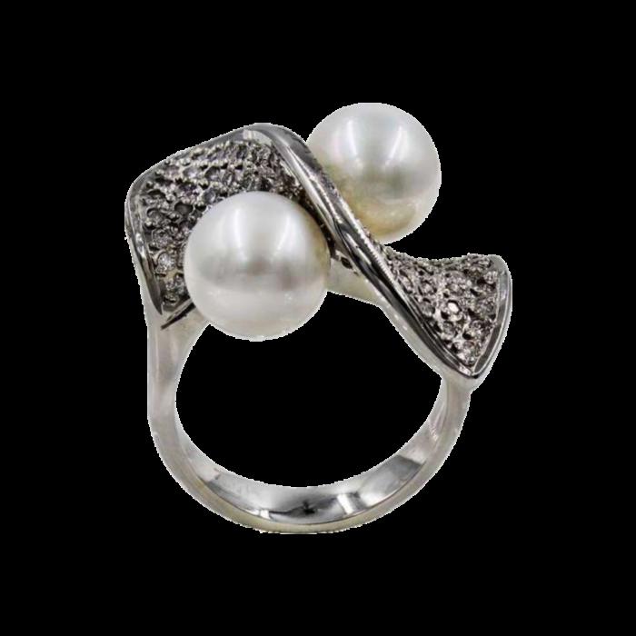 Δαχτυλίδι λευκόχρυσο 18Κ με μαργαριτάρι διαμάντια - MRDB1081
