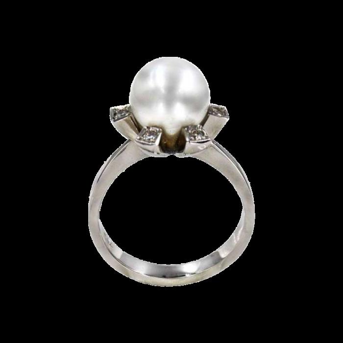 Δαχτυλίδι λευκόχρυσο 18Κ με μαργαριτάρι διαμάντια - MRDB2206