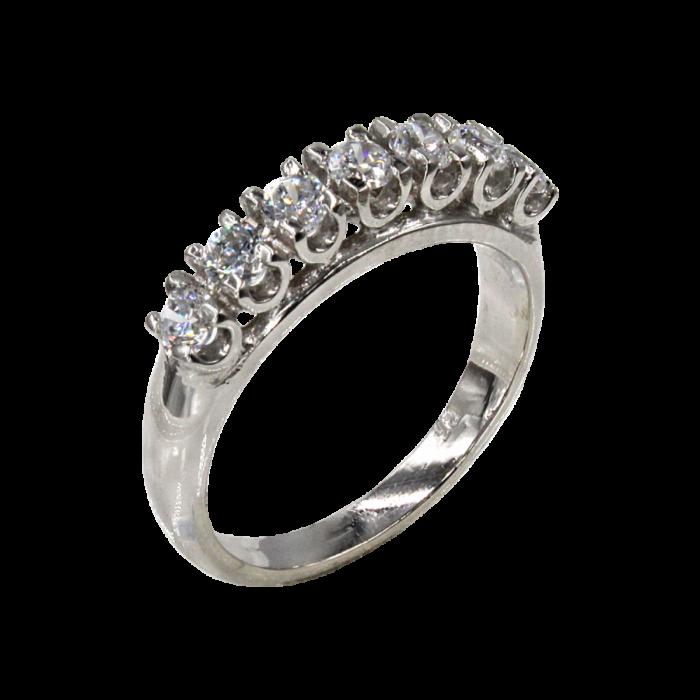 Σειρέ δαχτυλίδι λευκόχρυσο 14Κ - SD1007