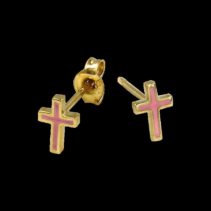 Παιδικά σκουλαρίκια σταυρουδάκια χρυσά 14Κ - PSK1009