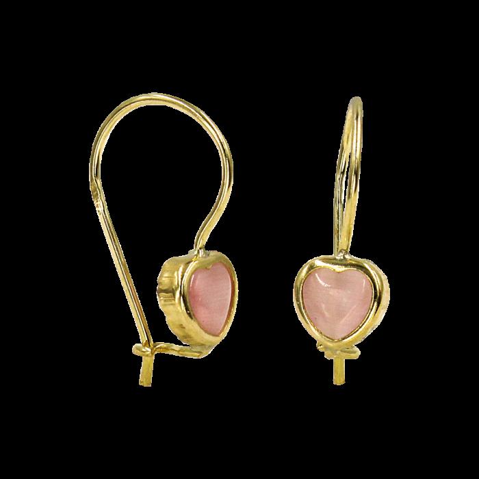 Παιδικά σκουλαρίκια κρεμαστά καρδιές χρυσά 9Κ - PSK1014