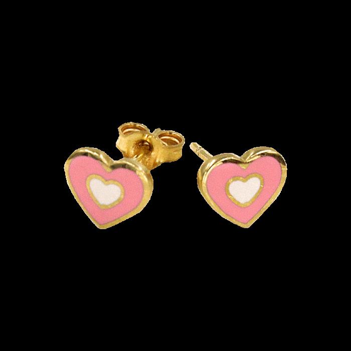 Παιδικά σκουλαρίκια καρδιές χρυσά 14Κ - PSK1018