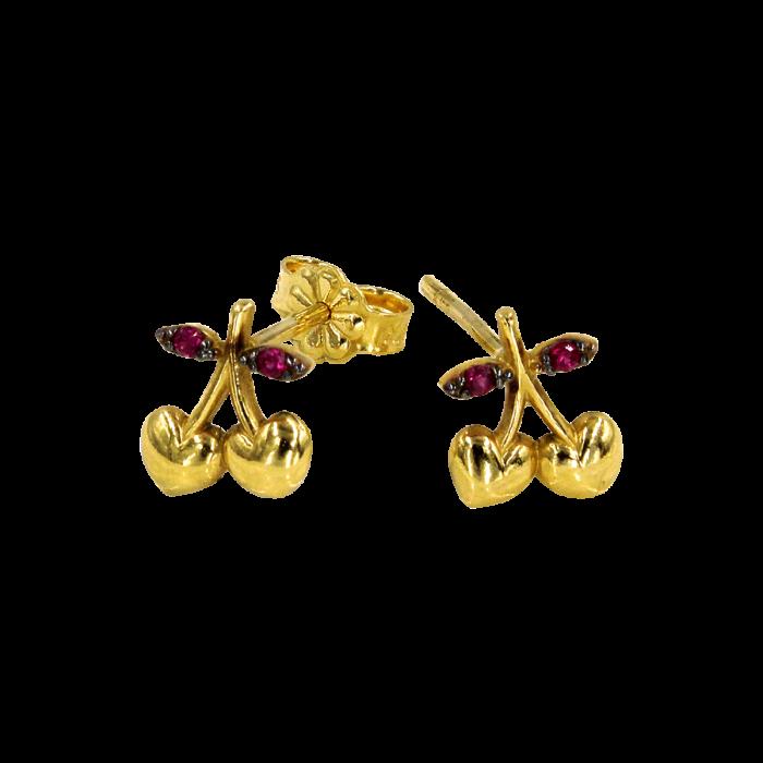 Παιδικά σκουλαρίκια κερασάκια χρυσά 14Κ - PSK1025