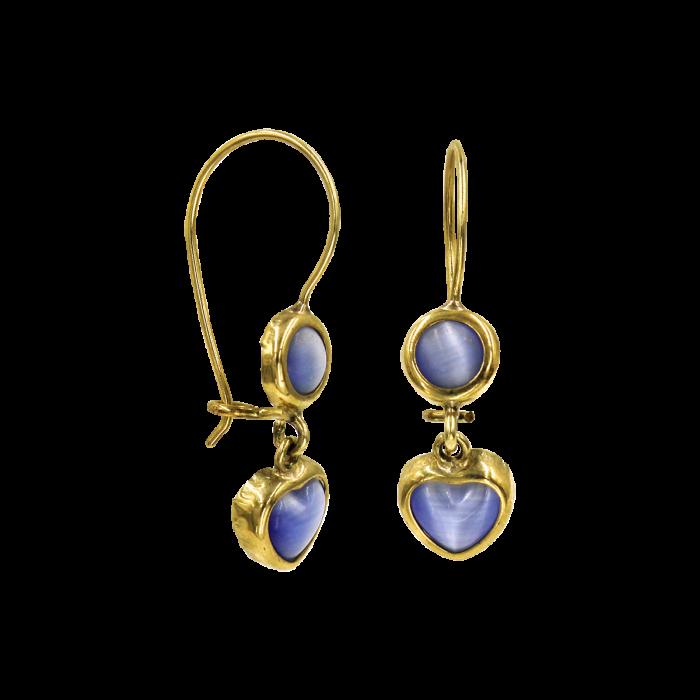 Παιδικά σκουλαρίκια κρεμαστά καρδιές χρυσά 14Κ - PSK1027