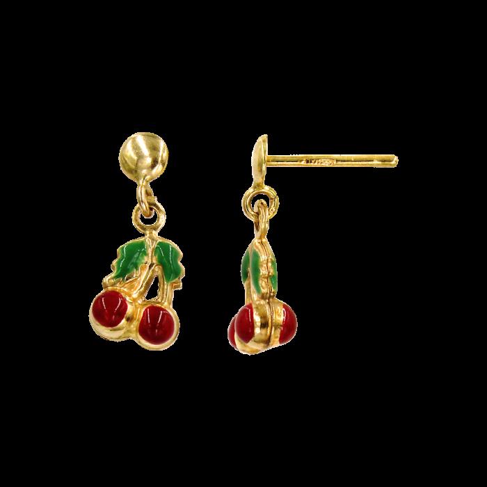 Παιδικά σκουλαρίκια κρεμαστά κερασάκια χρυσά 14Κ - PSK1028