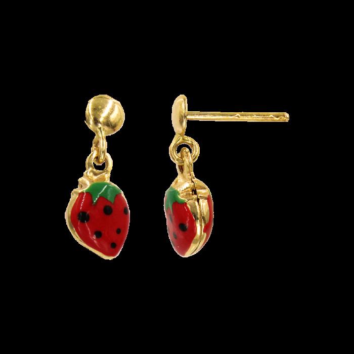 Παιδικά σκουλαρίκια κρεμαστά φράουλες χρυσά 14Κ - PSK1029