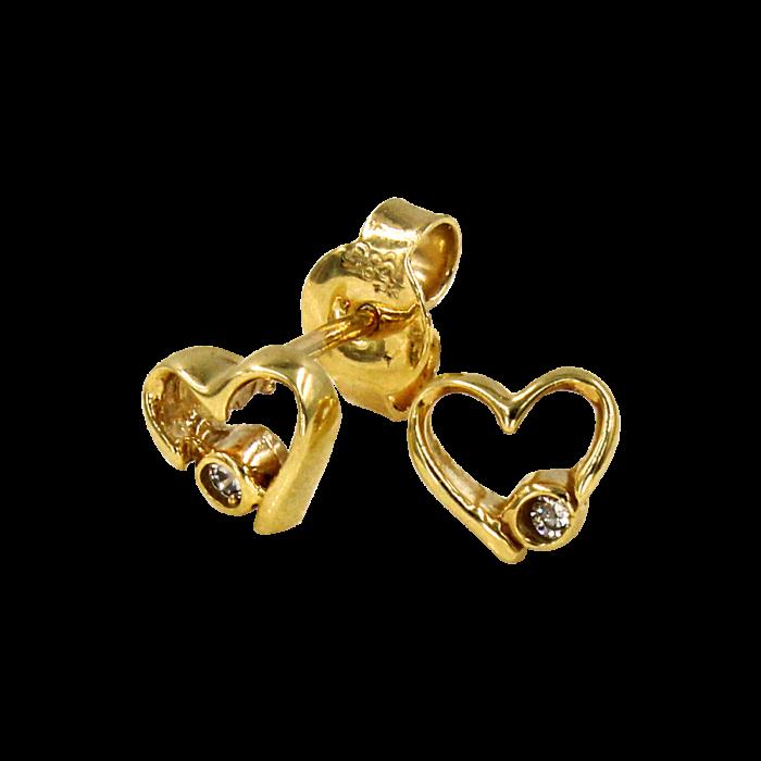 Σκουλαρίκια καρδιές χρυσά 14Κ - PSK1035