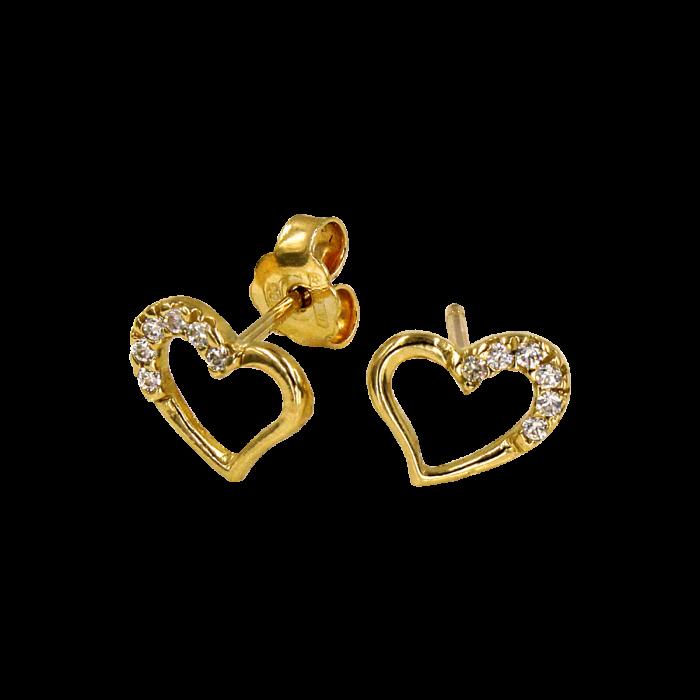 Σκουλαρίκια καρδιές χρυσά 14Κ - PSK1036K