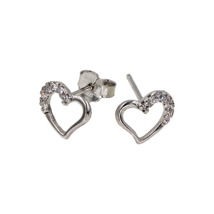 Σκουλαρίκια καρδιές λευκόχρυσα 14Κ - PSK1036L