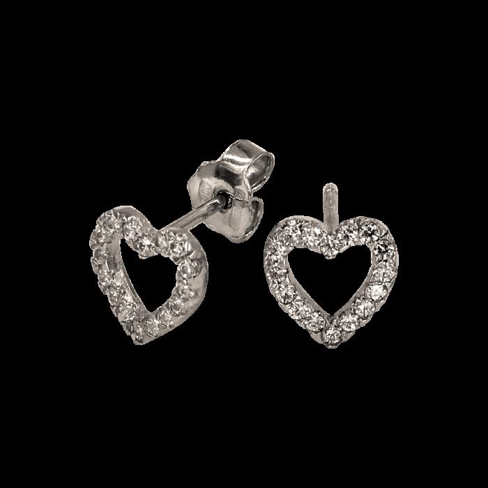 Σκουλαρίκια καρδιές λευκόχρυσα 14Κ - PSK1038L